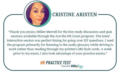 HR Practice Test Testimonials - Cristine Aristen
